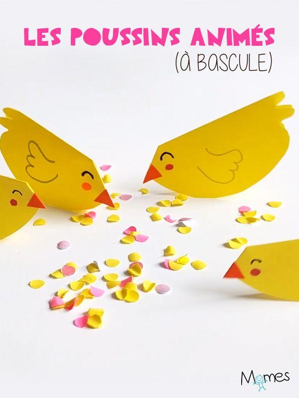Ces petits poussins affamés s'animent pour picorer leurs graines de confettis ! Un bricolage très simple et idéal pour Pâques à réaliser avec les enfants dès la maternelle.