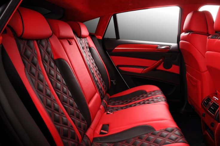 crazy interior for bmw x6 from topcar red and black grey shifter auto addiction interiors. Black Bedroom Furniture Sets. Home Design Ideas