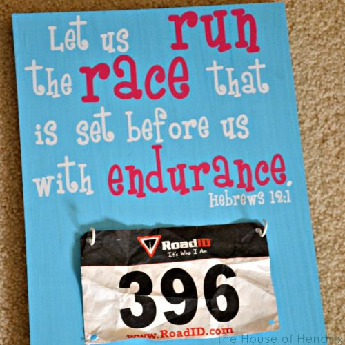 Such an inspirational DIY project for your cross country or track runner. I made this with my middle schooler to give her a place to keep her race numbers on. Add an encouraging quote or Runner's Verse to inspire.
