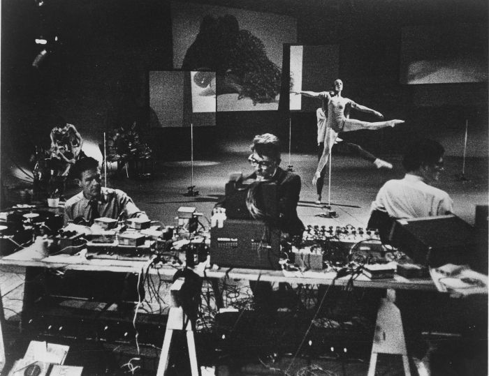 Variations VII, John Cage, David Tudor,Gordon Mumma (foreground), Caroline Brown, Merce Cunningham, Barbara Dilley (background), 1965