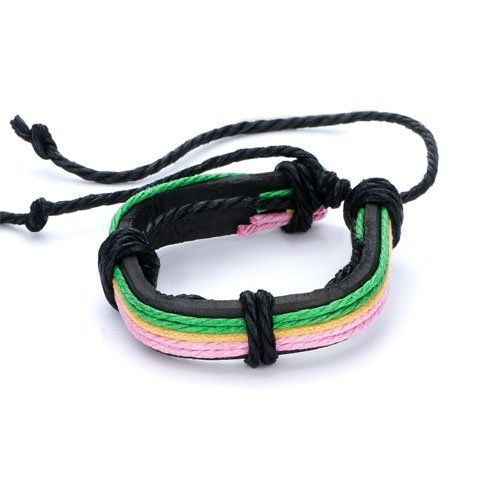 Pugster Pink Green Cotton Leather Button Multistrand Adjustable Bracelet Pugster. $8.49. Size (mm): 210*15.7*12.76. Weight (gram): 12.1. Color: pink,green. Metal: leather,cotton