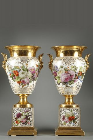 Pair of Porcelain Vases Marked Jacob Petit