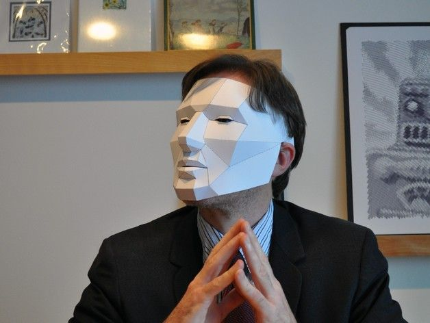 Cool PDF download that help you to build a low poly mask out of paper.  http://www.thingiverse.com/thing:32189