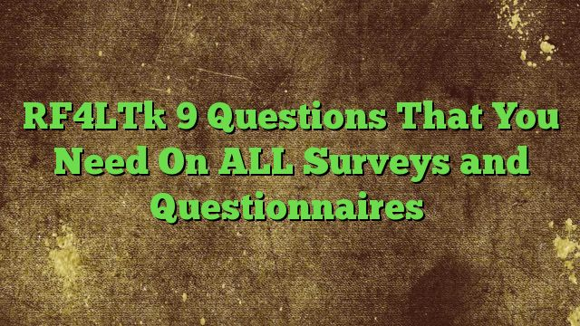9 Questions That You Need On ALL Surveys and Questionnaires - http://adf.ly/1RwaIb  Visit http://freedownloadoffers.com to get more latest offers