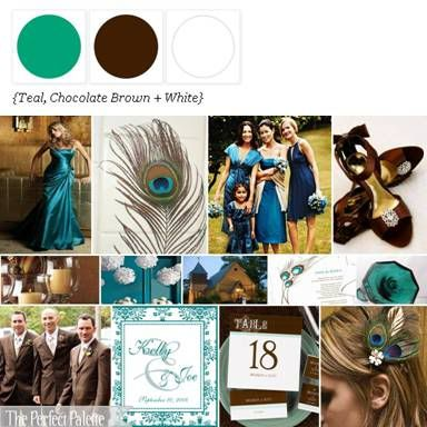 Teal - Chocolate brown - white (peacock theme) *I think this was