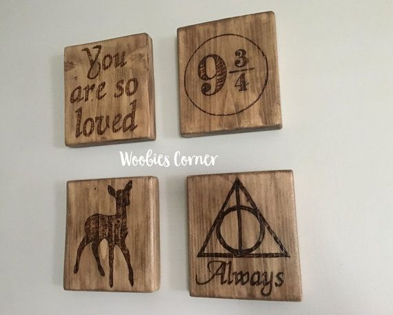 Harry Potter nursery decor, Harry Potter nursery art, Harry Potter wedding gift, Harry Potter baby shower, Harry Potter gifts, Rustic signs  Harry Potter nursery signs are made using real wood. Each piece has been hand decorated combining pyrography (wood burning) for the entire design and is sealed with a two coats of high quality finish to make your decor last a lifetime. Each measuring approx. 7 1/2 x 8 1/2 and includes a sawtooth hanger already installed and HANG READY when it arrives to…