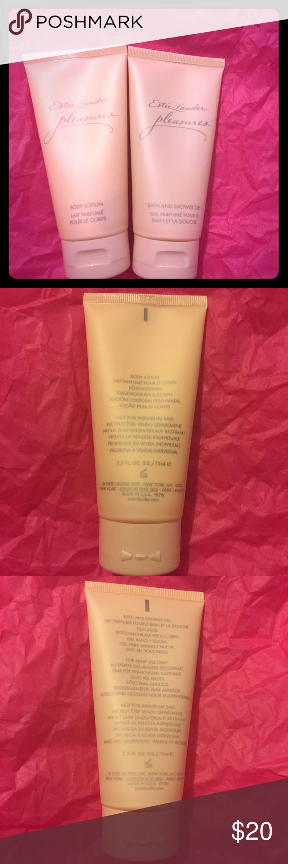 Estée Lauder Pleasures Shower & Lotion Set -NEW Estée Lauder Pleasures Bath & Shower Gel and Lotion Set. New; never used. Bundle and save! I accept reasonable offers. From a smoke free 💨, pet friendly 🐶 🐱 🐦 home 🏡. Estee Lauder Other