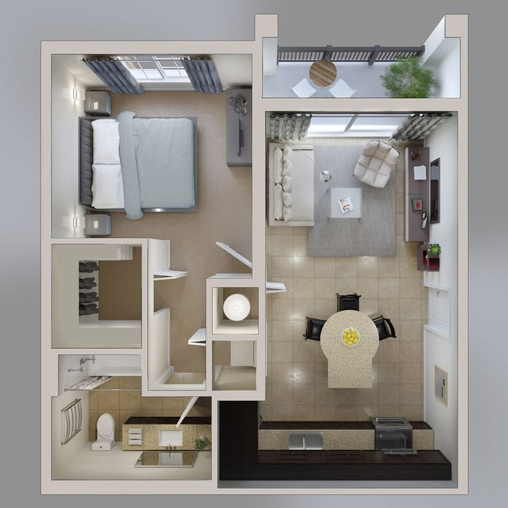 50 one 1 bedroom apartmenthouse plans - One Bedroom Apartment Interior Design