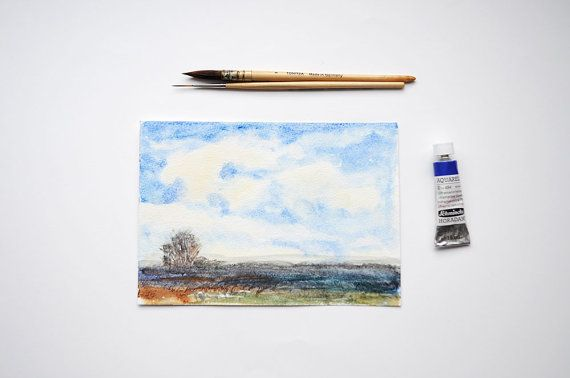Distant Fields in Autumn Watercolor Paintings by SundayWatercolor