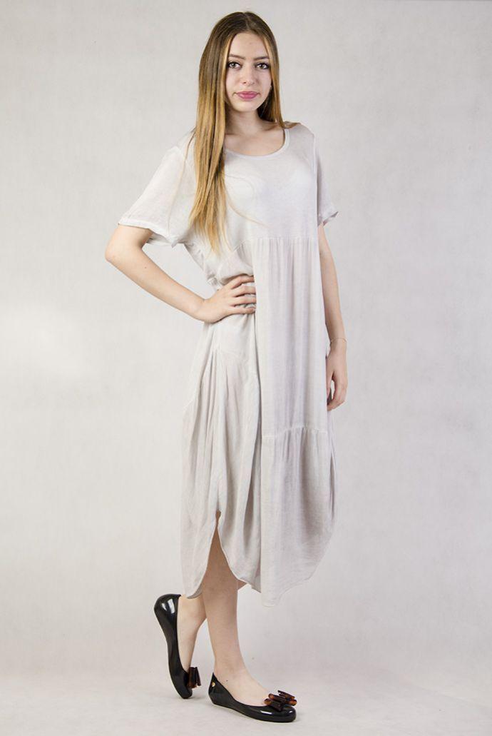 Asymetryczna, długa sukienka szara