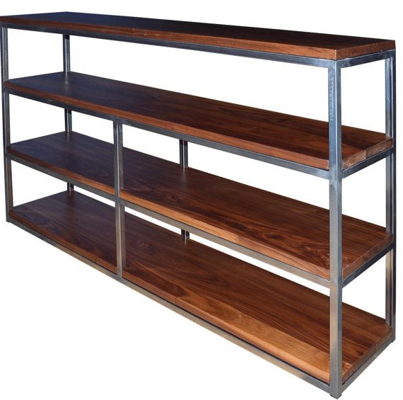Floating Walnut and raw steel bookcase by Fabitecture on Etsy,