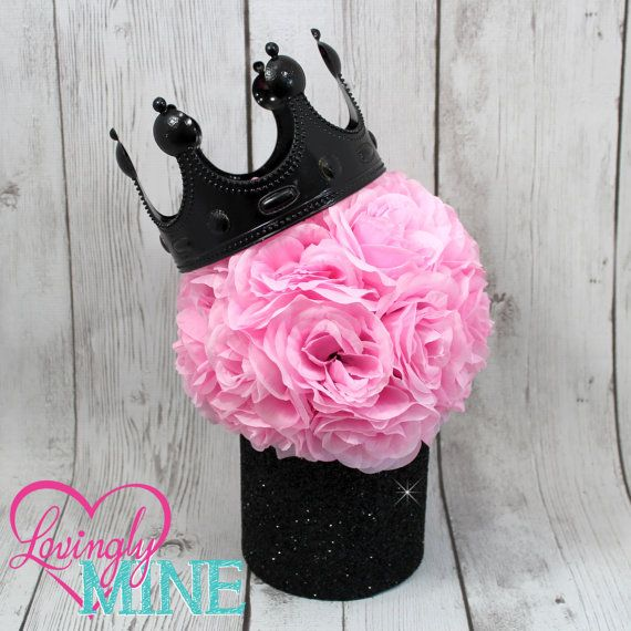 Glitter Black & Pink Centerpiece, Pink Faux Silk Rose Pomander with Optional Black Crown - Baby Shower, Birthday, Princess Party Decor