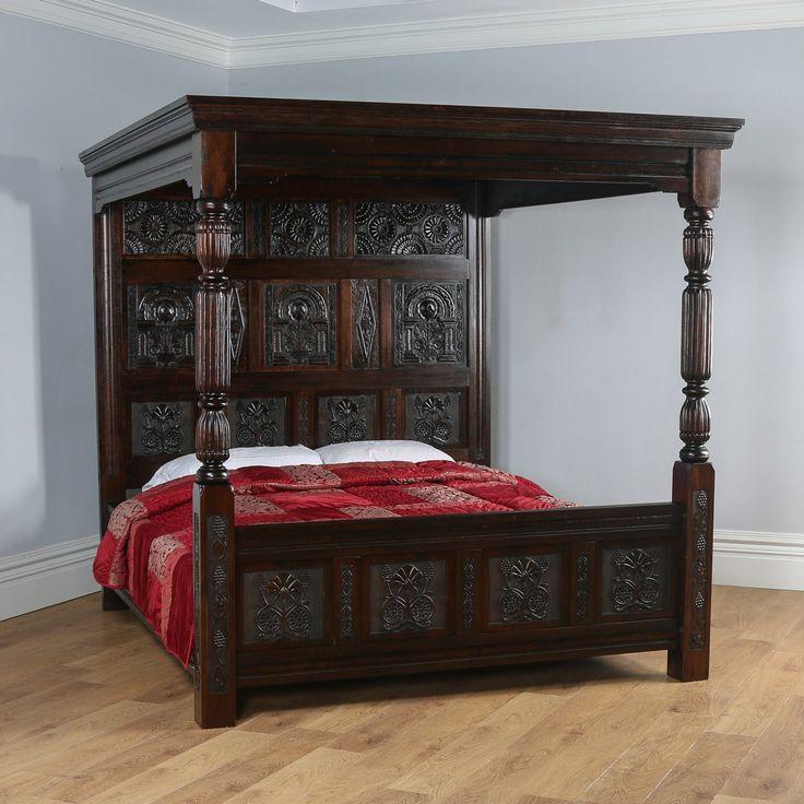Tudor Style Carved Super King Oak Full Tester Four Poster Bed (6ft Wide)