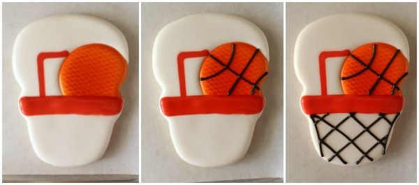 Basketball cookies made with the snowman cookie cutter
