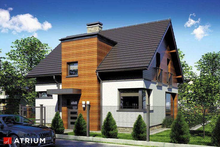 Parterowy dom z poddaszem użytkowym i dwuspadowym dachem, z ryzalitem frontowym i przestronnym, nieosłoniętym tarasem