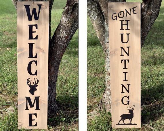 4ft Reversible Welcome Gone Deer Hunting Wood Porch Sign Wooden Welcome Signs Porch Signs Carved Wood Signs