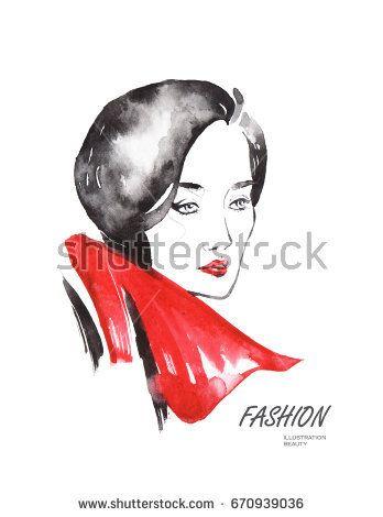 Beautiful woman portrait. Abstract fashion watercolor illustration @knyshksenya