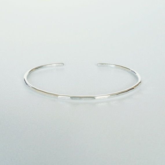 Sterling Silver Hammered Stacking Cuff Bracelet by ShopNepheliad