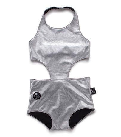 Nununu Cut Out Swimsuit   Silver
