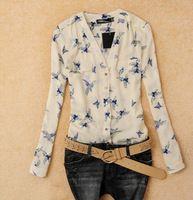 Mel moda 2014 blusa ave elegante animal print transporte livre novas mulheres com mangas compridas folgadas camisa magro CS4415 v-neck