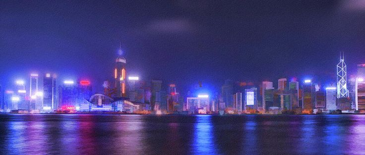 City Mixed Media - Night Hong Kong by Mariia Kalinichenko #MariiaKalinichenko