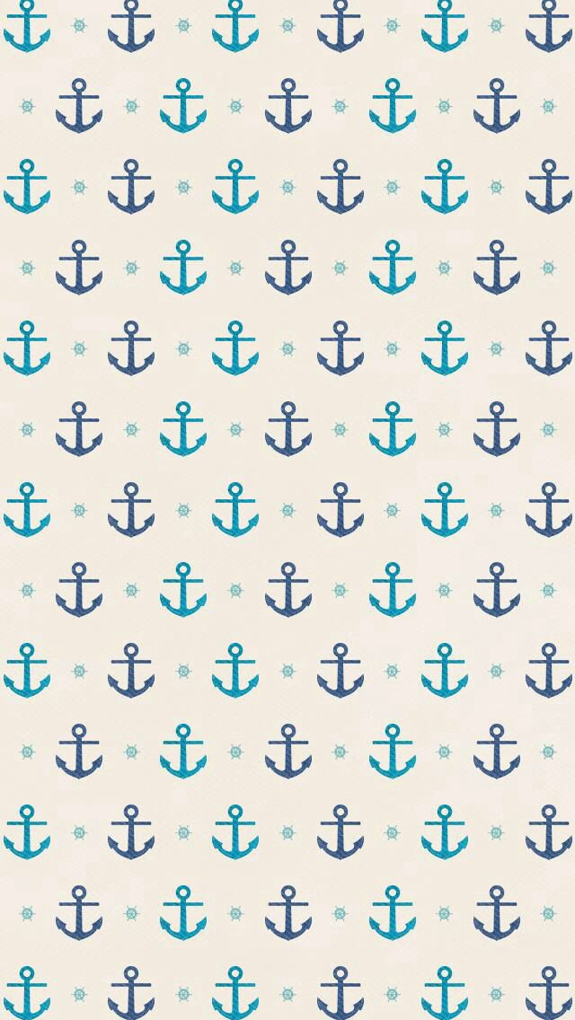 Small teal and navy blue anchor anchors on off white background. #wallpaper