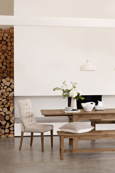 Restful kitchen/dining - whites and woods