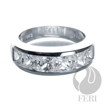 .925 Fine sterling Silver Bridal Ring with AAA white CZ from FERI Designer Lines