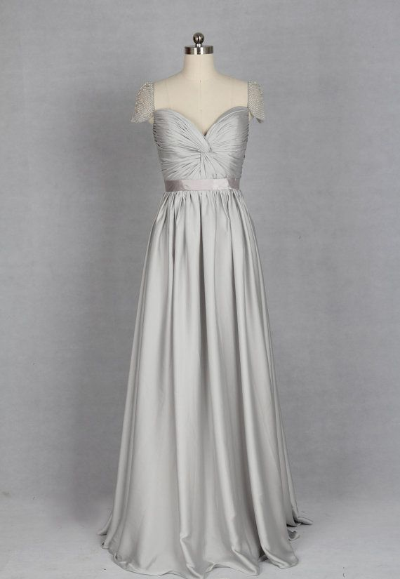 Silver Bridesmaid Dress Vneck Chiffon or Satin by harsuccthing, $129.00