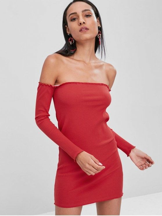 a7d01a5975f Ribbed Knit Off The Shoulder Bodycon Dress - RED S