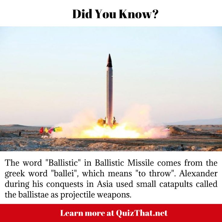 "The word Ballistic is derived from the Greek word 'ballei' meaning ""to throw"""