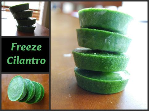 Cilantro pucks- this is a great idea.  Perfect for the cilantro in the fridge right now and even better for the week when it's on sale 3 for $1.