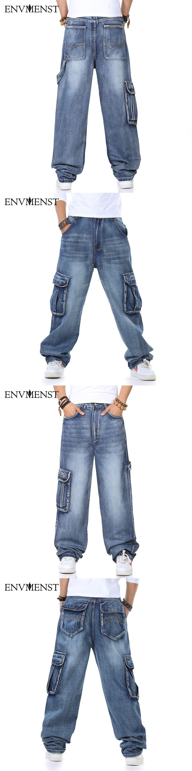 2017 Men's Cargo Jeans Pants Multi Pocket Hip Hop Designer Baggy Jeans Men's Loose Fit Casual Trousers Cotton Supper Big Size 46