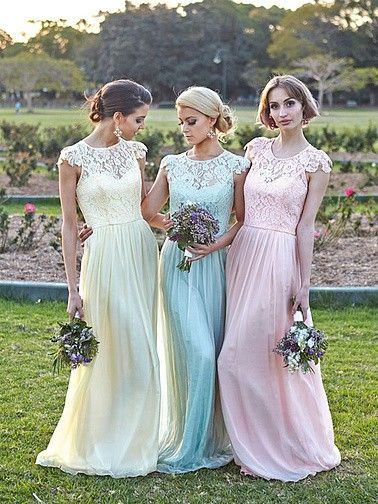 Pin to Win a Wedding Gown or 5 Bridesmaid Dresses! Simply pin your favorite dresses on www.forherandforhim.com to join the contest! | Lace and Chiffon Dress $159.99