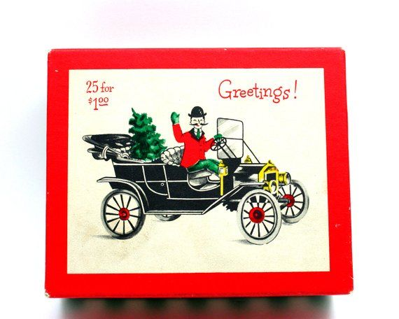 Vintage 1950s illustrated Christmas card box, Gibson Man About Town, antique classic car model T Ford, red white green trinket, xmas holiday