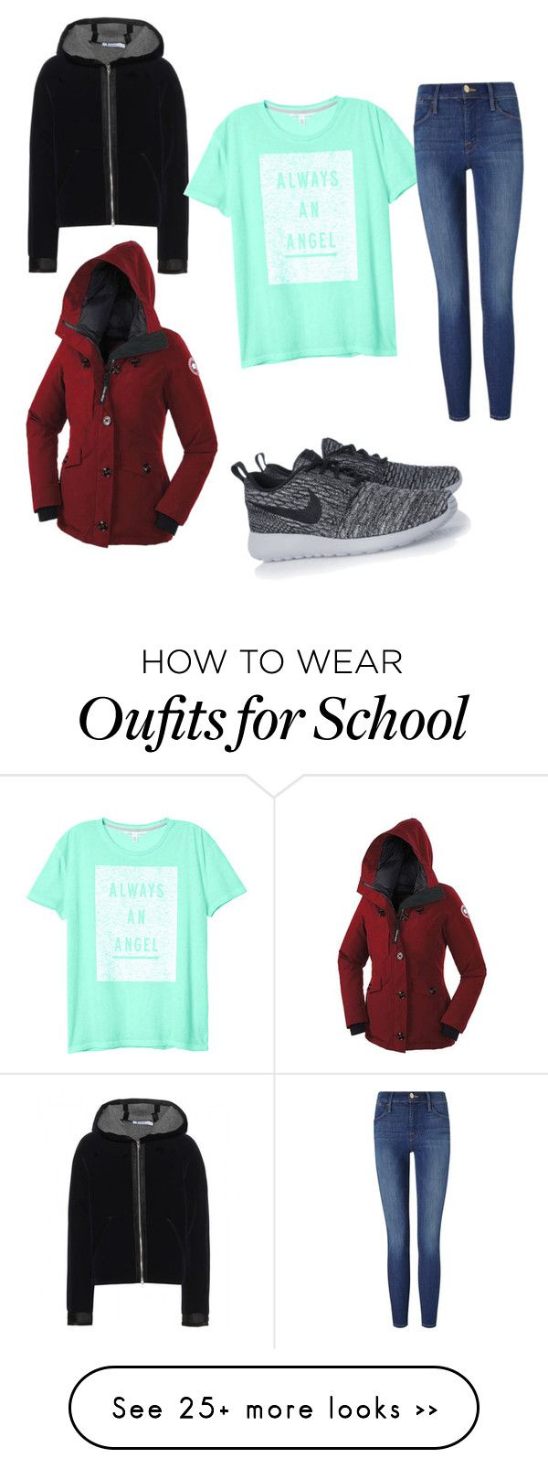 """""""School in Alaska"""" by bubbles-peach on Polyvore featuring NIKE, Canada Goose, T By Alexander Wang, Victoria's Secret and Frame Denim"""