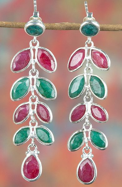 Emerald Jewellery – Multi Gem Emerald & Ruby Silver Earring BJE... – a…