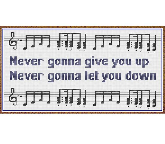 Rick Roll - Never Gonna Give You Up - Counted Cross Stitch Pattern by HornswoggleStore, $5.00 (Rick Astley, funny, geek, nerd, meme, music)