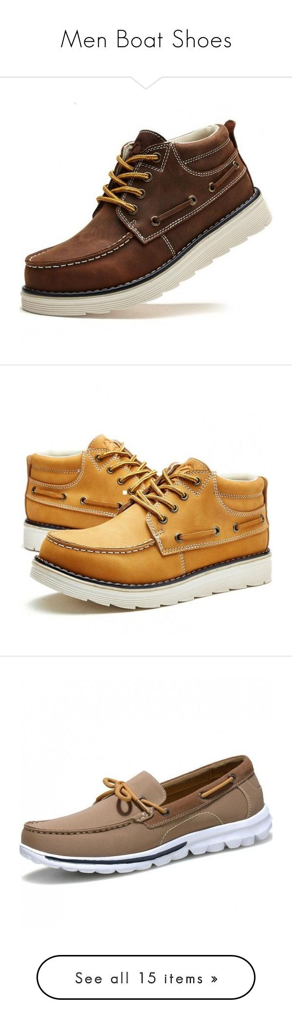 """Men Boat Shoes"" by yestn ❤ liked on Polyvore featuring shoes, men's fashion, men's shoes, men's boots, men's work boots, men's loafers, mens canvas deck shoes, mens sperry topsiders, mens canvas boat shoes and mens boat shoes"