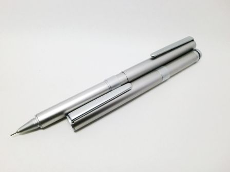MUJI - Compact Aluminium 'Sharp Pen', US$12. Minimalist 0.5mm mechanical pencil with postable cap. Essentially an OEM clone of the OHTO Tasche series, without the over-large product lettering.