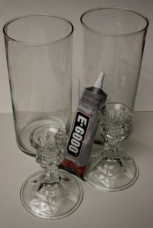 Make hurricane vases from Dollar Tree Vase and Candlestick $2 each