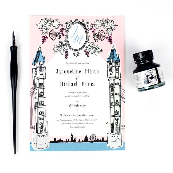 Old London wedding invitations by Hollyhock Lane