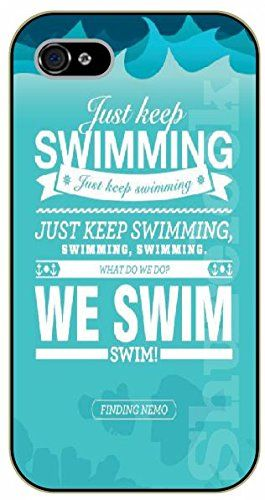 """iPhone 6 (4.7"""") Just keep swimming. We swim - black plastic case / Walt Disney And Life Quotes, nemo, finding:Amazon:Cell Phones & Accessories"""
