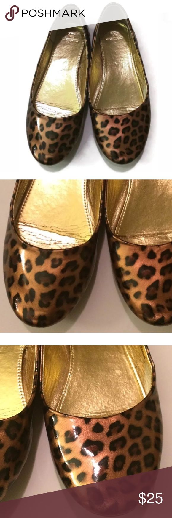 Crewcuts Patent Leather Ballet Flats 4 Toe: Round Style: Ballet Flats  Print: Leopard Animal Print  Embellishment: None Size: Big Kids 4 Color: Brown Fabric: Patent Leather  PRE-OWNED:  Very Good Condition J. Crew Shoes