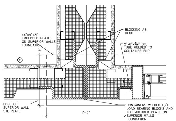 Typical container connection at end wall plan detail all - Shipping container home design kit download ...