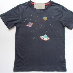 T-shirt da bambino, in puro cotone - spazio - blu scuro