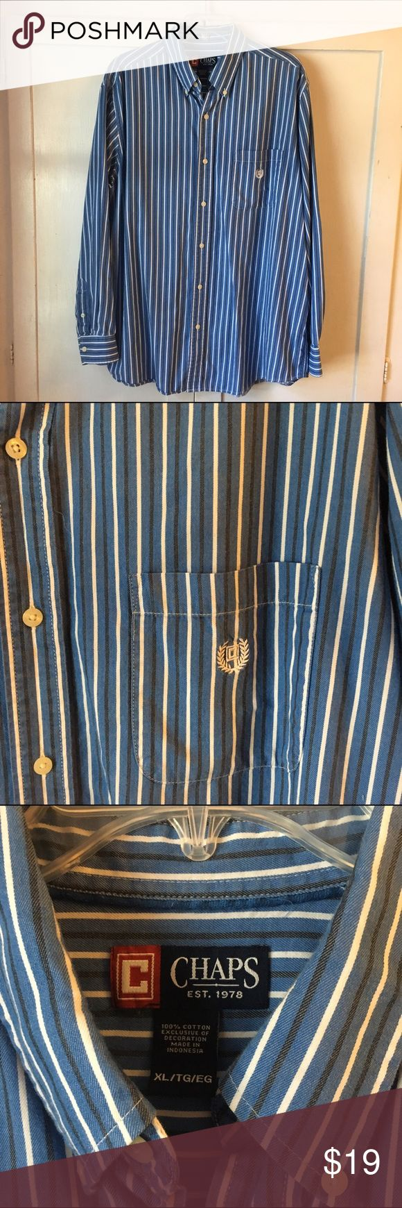 Chaps Ralph Lauren Navy Striped Button Down Perfect to wear with jeans or khakis! Well loved and cared for with price accounting wear. Thanks for looking! Chaps Shirts Dress Shirts