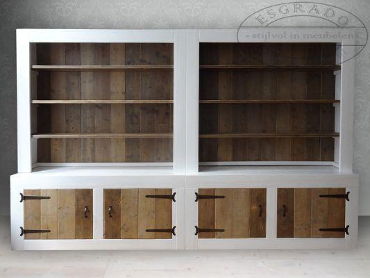 steigerhouten boekenkast / kantoorkast op maat