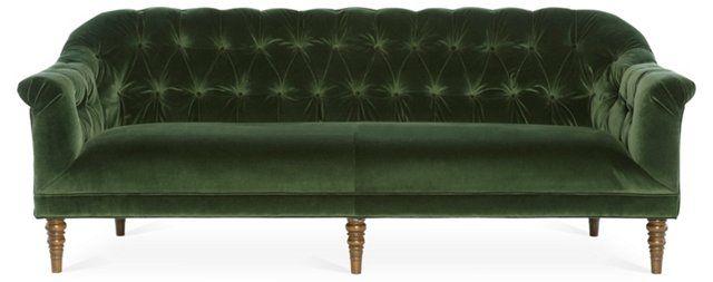 """Gentry 87"""" Sofa, Forest-Green Velvet"""