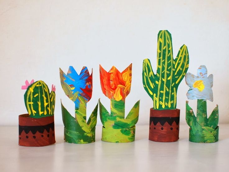 make plants, cacti, and flower garden from toilet paper rolls, scissors, and paint.